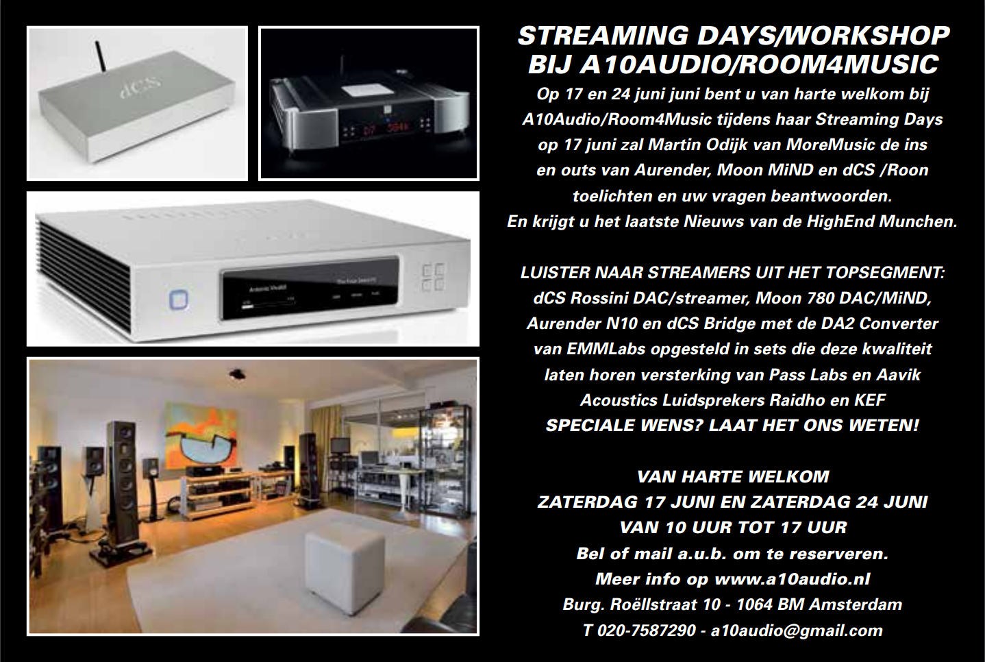 17 en 24 juni Streaming Days/Workshop bij A10audio/Room4Music